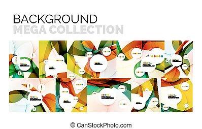 set, kleur, abstract, gedaantes, golvend, achtergronden, geometrisch