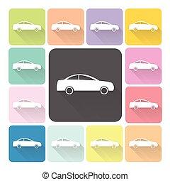 set, kleur, auto, illustratie, vector, pictogram