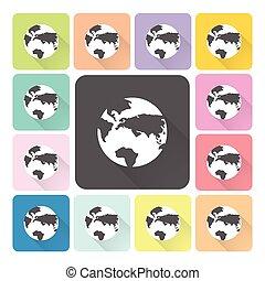 set, kleur, globe, illustratie, vector, pictogram