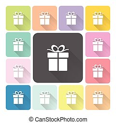 set, kleur, illustratie, vector, giftbox, pictogram