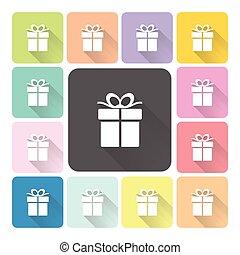 set, kleur, illustratie, vector, giftbox, pictogram