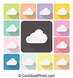 set, kleur, illustratie, vector, weer, pictogram