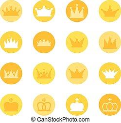 set, kleur, koninklijke kronen, achtergrond, vector, illustratie