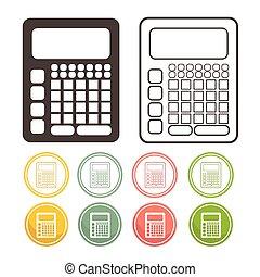 set, kleur, rekenmachine, illustratie, vector, pictogram