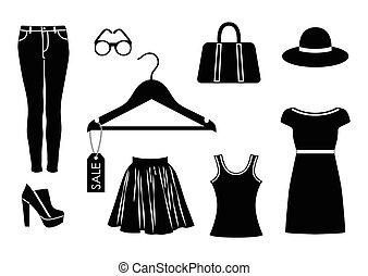 set, kleur, vector, zwarte achtergrond, witte , pictogram, kleren