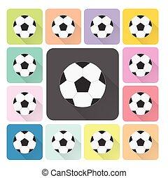 set, kleur, voetbal, illustratie, vector, pictogram