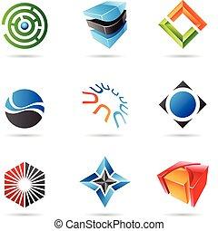 set, kleurrijke, 18, abstract, iconen, gevarieerd