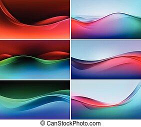 set, kleurrijke, abstract, achtergronden, veelkleurig, vector, golf