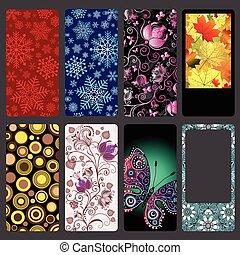 set, kleurrijke, beweeglijk, deksels, telefoon, stof