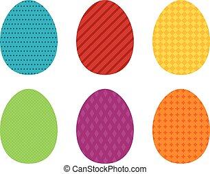 set, kleurrijke, eenvoudig, pasen, 6, ei