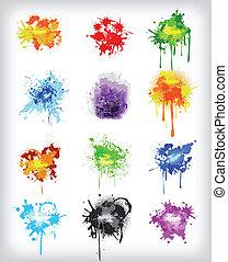 set, kleurrijke, elements., vector, ontwerp, grungy