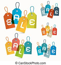 set, kleurrijke, etiketten, verkoop, vrijstaand, vector, achtergrond, witte