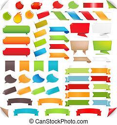 set, kleurrijke, groot, etiketten, tekstballonetje