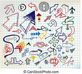 set, kleurrijke, groot, pijl, gevarieerd, doodle