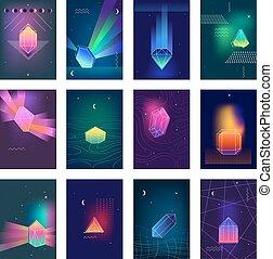 set, kleurrijke, iconen, polygonal, beelden, kristallen