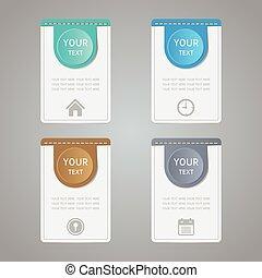 set, kleurrijke, iconen, sticker, etiket, papier