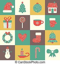 set, kleurrijke, iconen, vector, zestien, kerstmis