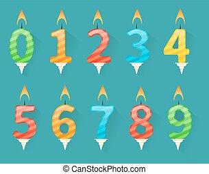 set, kleurrijke, kaarsjes, getal, jarig, vrolijke
