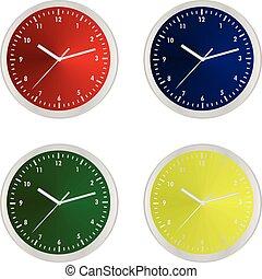 set, kleurrijke, klok