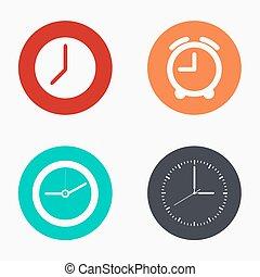 set, kleurrijke, klok, moderne, vector, iconen