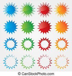 set, kleurrijke, markeringen, collection., prijs, aanbod, bijzondere