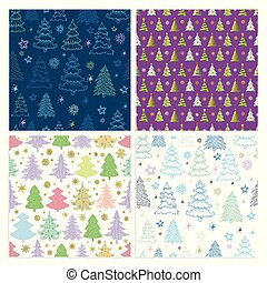 set, kleurrijke, model, seamless, vector, fir-bomen, kerstmis