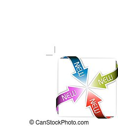 set, kleurrijke, pijl, -, nieuw, hoek, linten