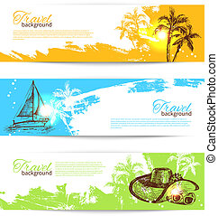 set, kleurrijke, reizen, achtergronden, tropische ,...
