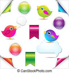 set, kleurrijke, tekstballonetje, vogels, lint