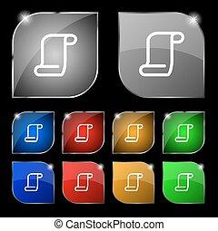 set, kleurrijke, tien, teken., glare., knopen, vector, document rol, pictogram