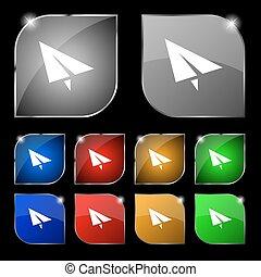 set, kleurrijke, tien, teken., glare., knopen, vector, het vliegtuig van het document, pictogram