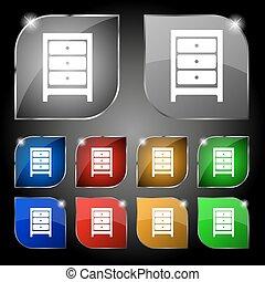 set, kleurrijke, tien, teken., glare., knopen, vector, nightstand, pictogram