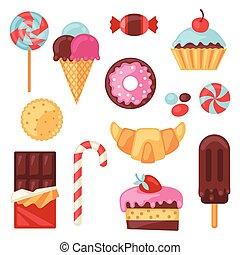 set, kleurrijke, versuikeren, zoetigheden, gevarieerd, cakes...