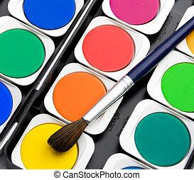 set, kleurrijke, verven, borstels, veelkleurig, watercolor