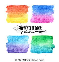 set, kleurrijke, vlekken, watercolor verf, textured