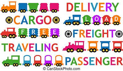 set, kleurrijke, vrijstaand, de treinen van het stuk speelgoed