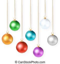 set, kleurrijke, vrijstaand, illustratie, realistisch, helder, vector, versieringen, kerstmis