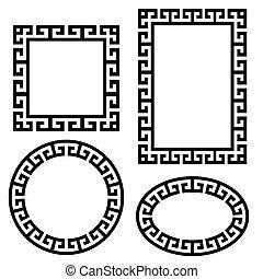 set., klucz, wektor, skwer, brzeg, grek, okrągły, ułożyć