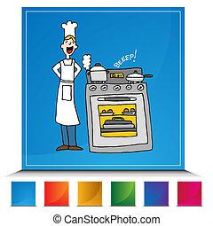 set, knoop, het koken, tijdopnemer, kok, gebruik
