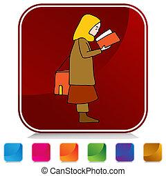 set, knoop, moslim, boek, girl lezen