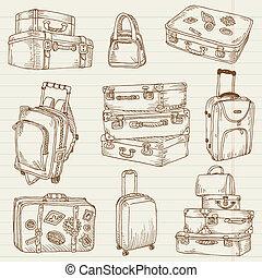 set, koffer, ouderwetse , -, vector, ontwerp, plakboek