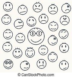 set, komieken, expressed., emotioneel, gezichten, spotprent