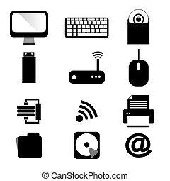 set., komputer, urządzenia, ikony