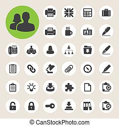set., kontor, illustration, ikonen