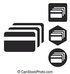 set, krediet, pictogram, kaart, monochroom