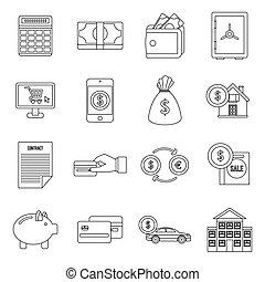 set, krediet, stijl, schets, iconen