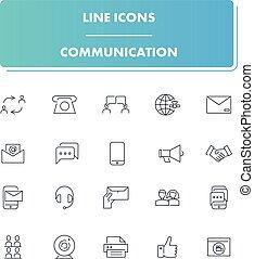 set., kreska, komunikacja, ikony