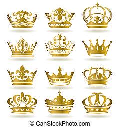 set, kroon, goud, iconen
