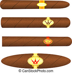 Set kubinskiyh cigars on white background. Vector illustration