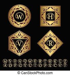 set, kunst, goud, elegant, ontwerp, logo, bevallig, template., design., restaurant, heraldisch, fashion., hotel, juwelen, boutique, bedrijfsteken, illustratie, royalty, lijn, identiteit, monogram, vector, communie